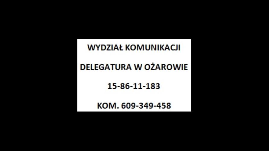 Zmiana numeru telefonu wydziału komunikacji delegatura w Ożarowie