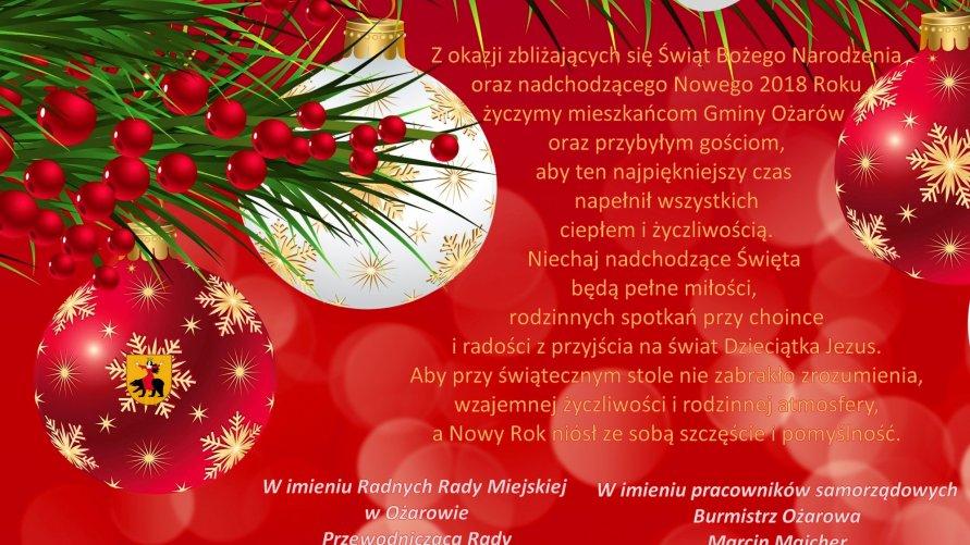Życzenia na Święta Bożego Narodzenia i Nowy Rok 2018