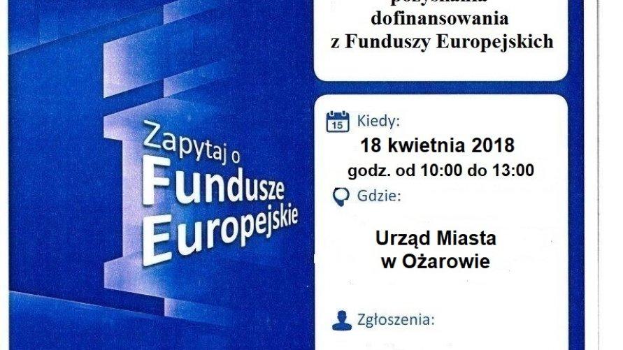 Bezpłatne konsulatacje w sprawie możliwości pozyskania dofinansowania z Funduszy Europejskich