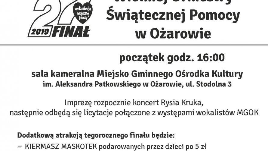 Wileka Orkiestra Świątecznej Pomocy 27 FINAŁ, 13 stycznia 2019, godz. 16.00